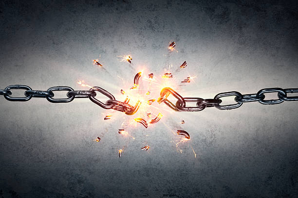 broken chain - freedom concept - freedom stock pictures, royalty-free photos & images