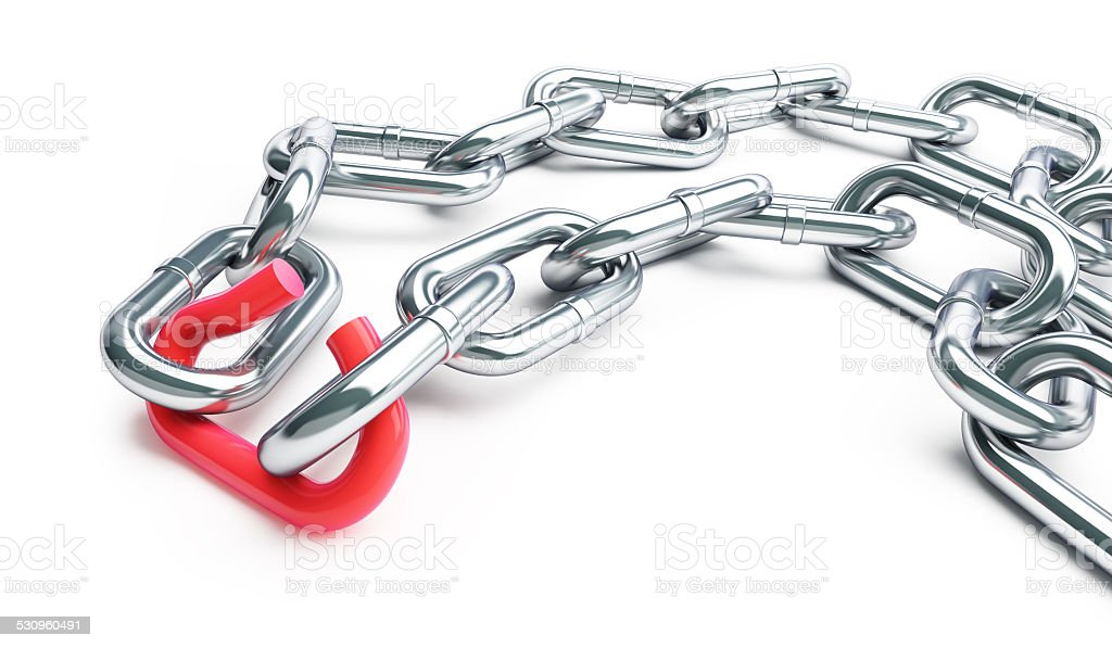 Broken chain link chain on a white background stock photo