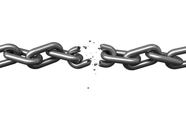 Broken chains stock photo