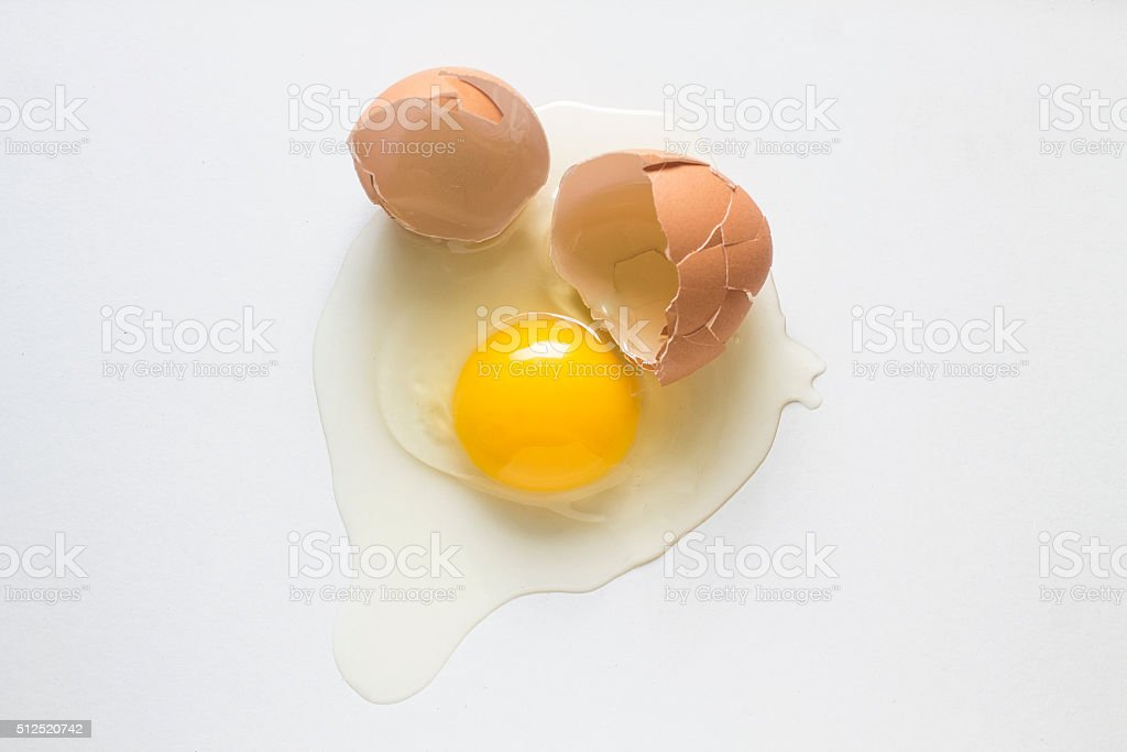 Broken chicken egg stock photo
