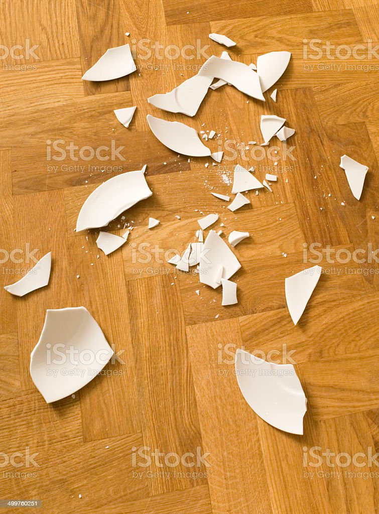 broken china plates stock photo