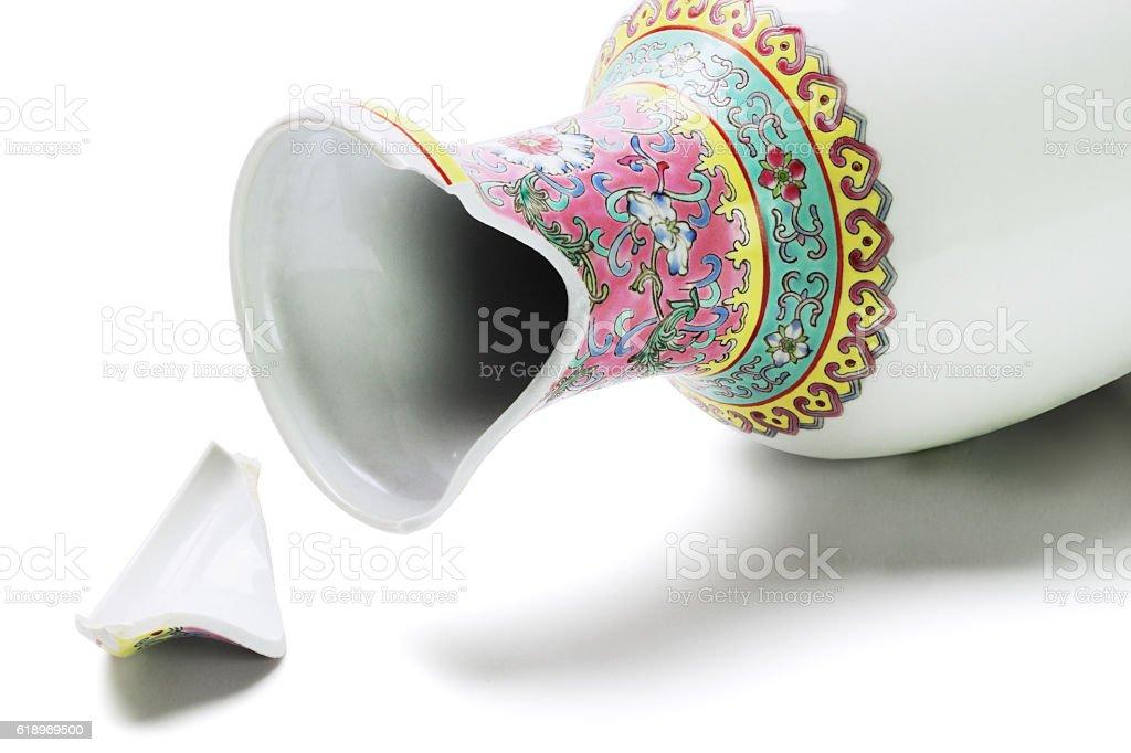 Broken Chinese Vase stock photo
