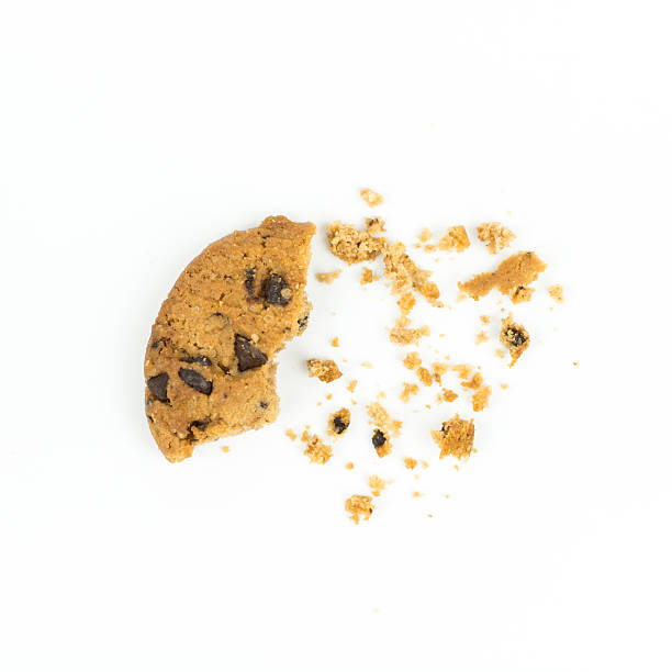 broken Chocolate chip cookie on white​​​ foto