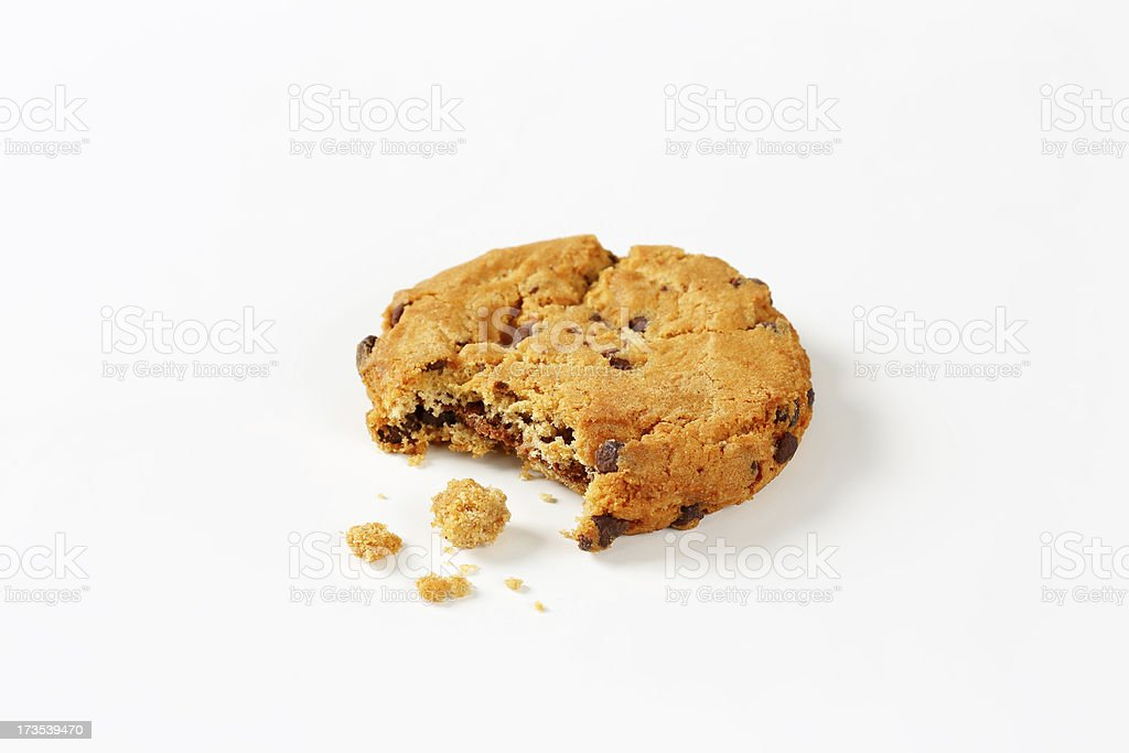 broken chocolate chip cookie royalty-free stock photo