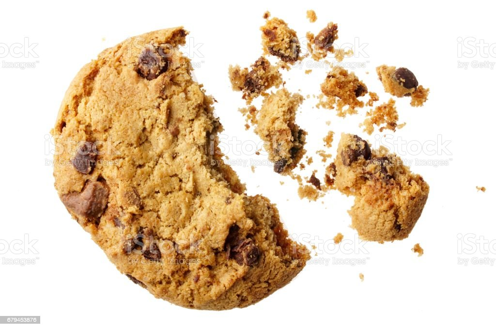 Broken Chocolate Cookie Isolated On White Background stock photo