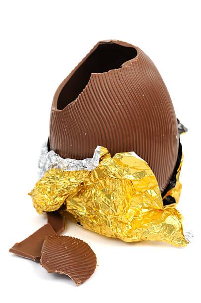 Broken Chocolate Easter Egg stock photo