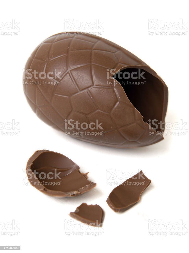 Broken Chocolate Easter Egg royalty-free stock photo