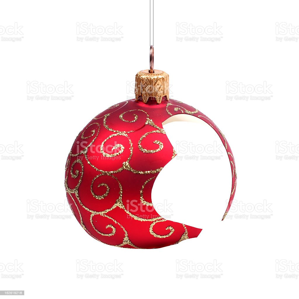 broken Christmas ball stock photo
