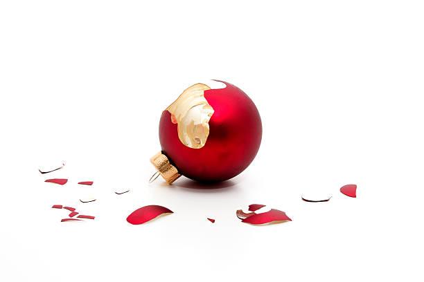 broken christmas bauble stock photo