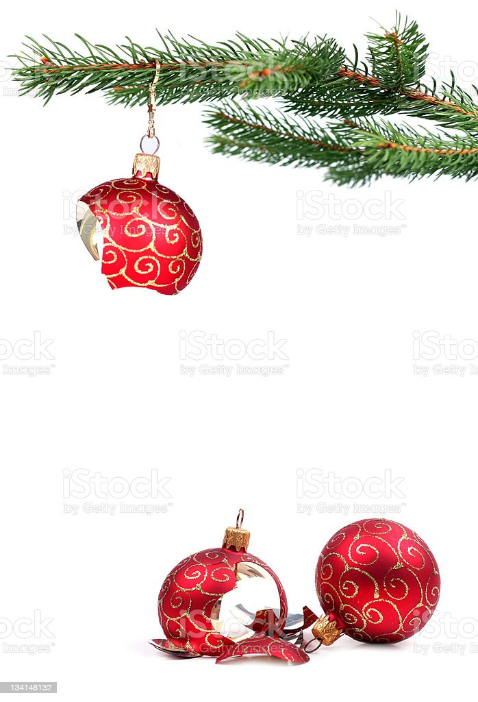 Broken Christmas decoration stock photo