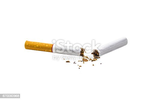 Broken cigarette isolated on white background with clipping path.