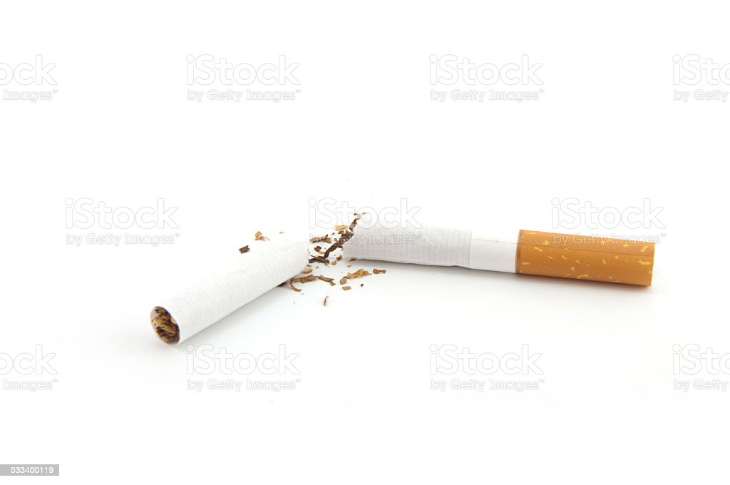 broken cigarette stock photo