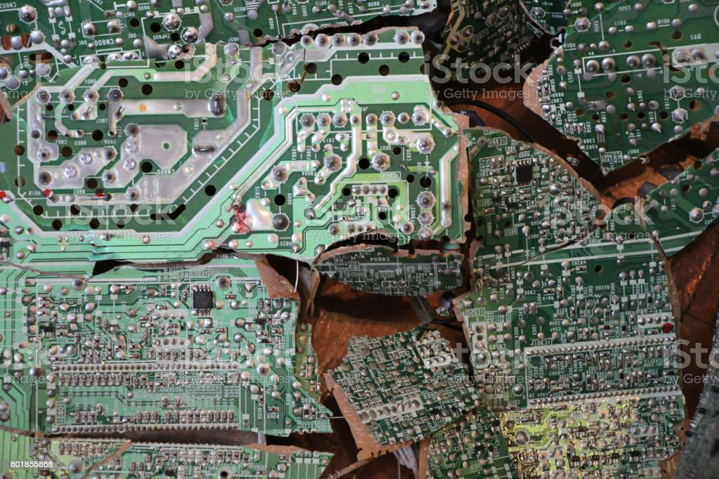 Broken Circuit Boards Of A Dismantled TV Royalty Free Stock Photo