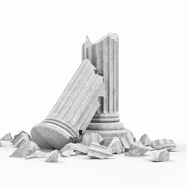 broken classic ancient column isolated on white background - arkitektonisk kolonn bildbanksfoton och bilder