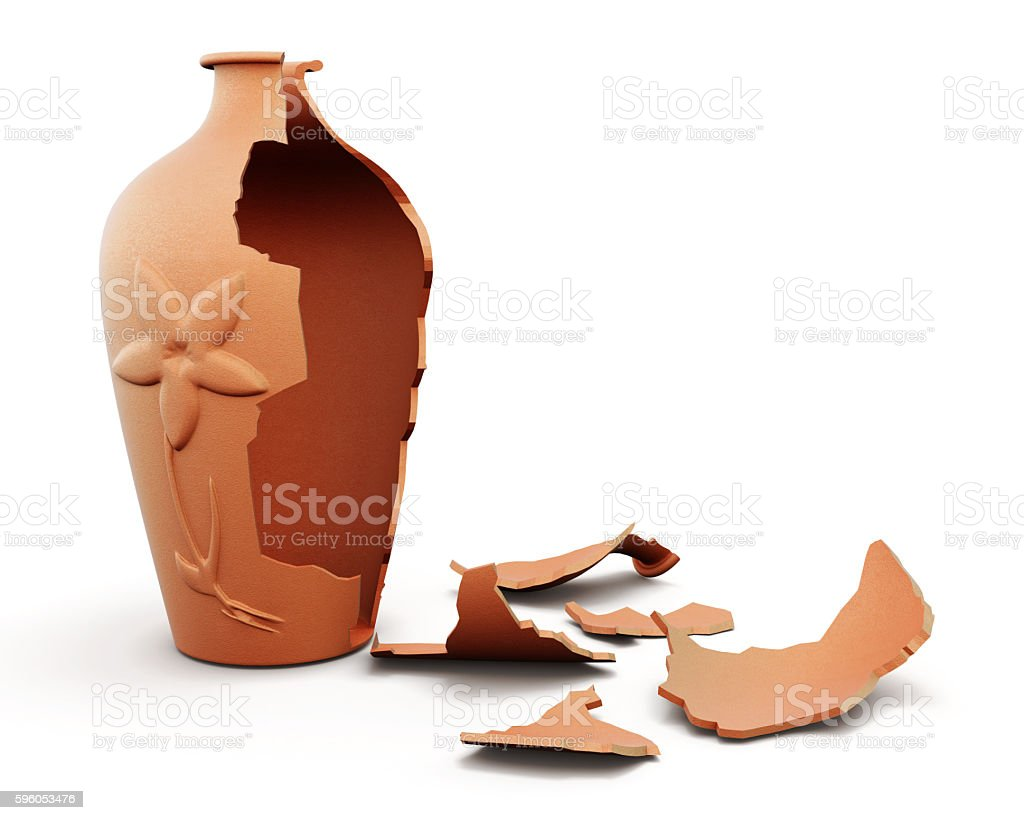 Broken clay vase isolated on white background. 3d render image stock photo