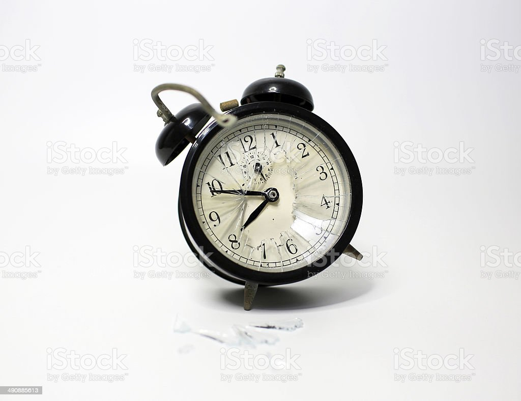 broken clock and time stop stock photo
