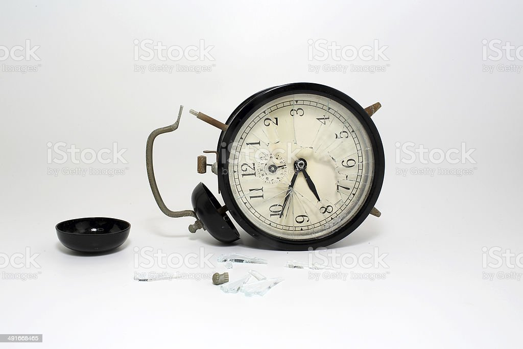 broken clock with isolated white background stock photo