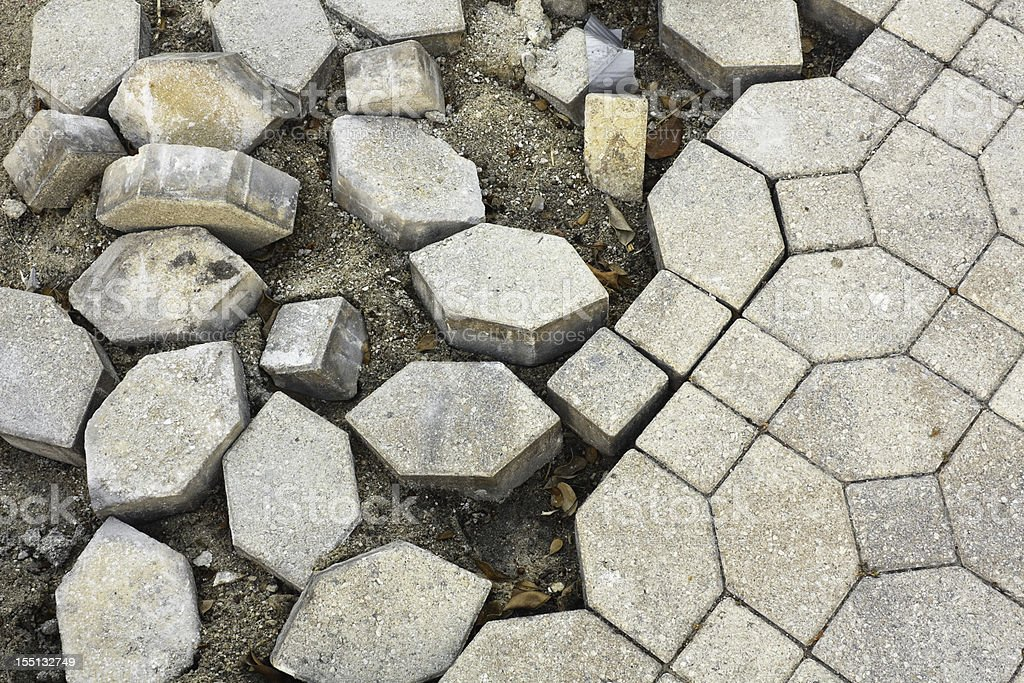 Broken Cobblestone Pavement stock photo