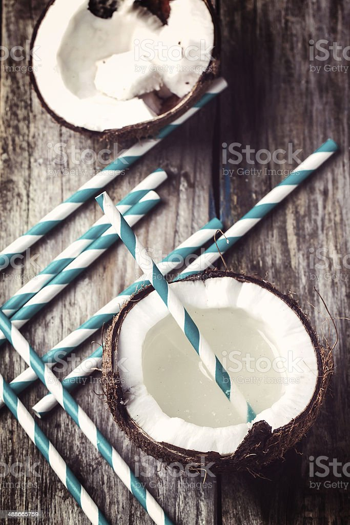 Broken coconut stock photo