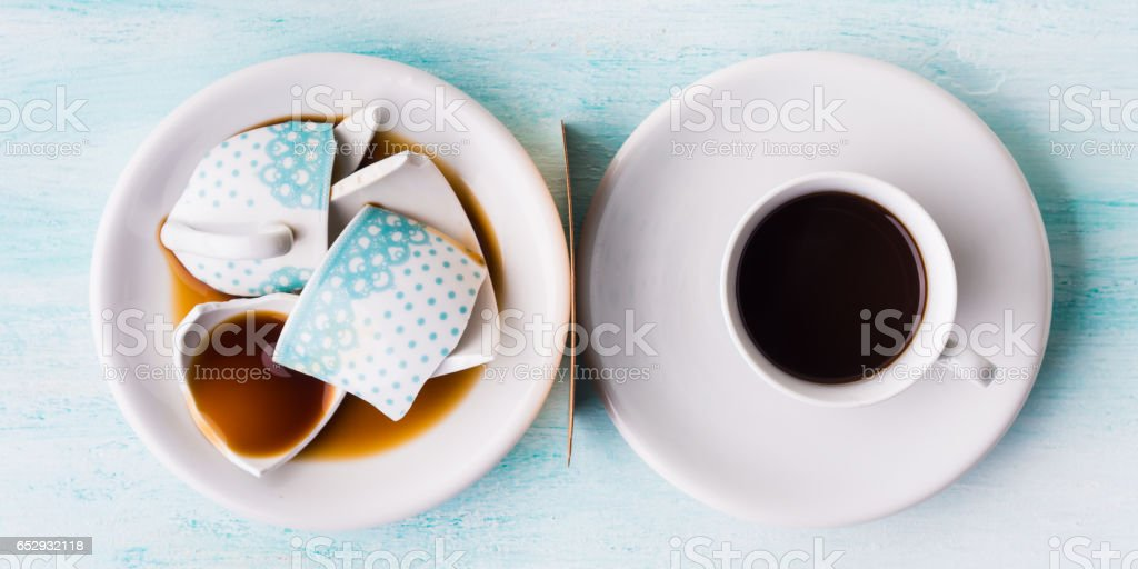 Broken coffee cup relationship concept top view stock photo