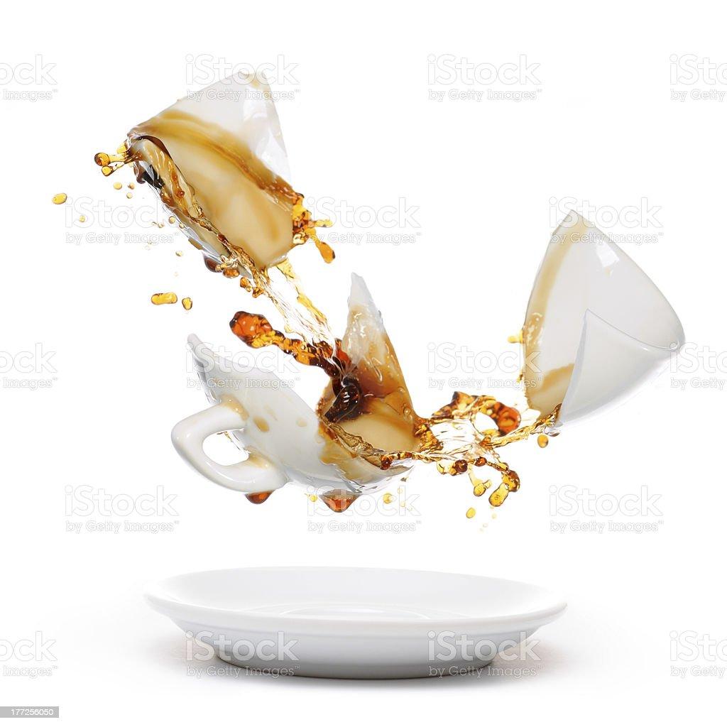 Broken coffee mug stock photo