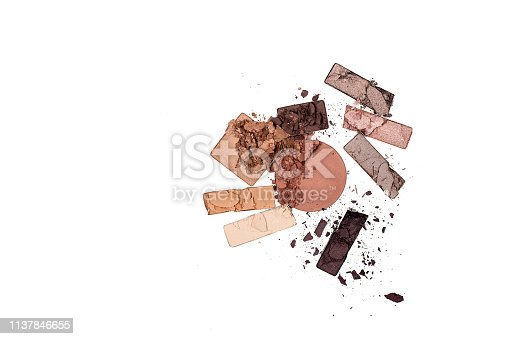 Broken color eye shadow palette isolated on white background. Ready preparation for your project. Horizontal, copy space