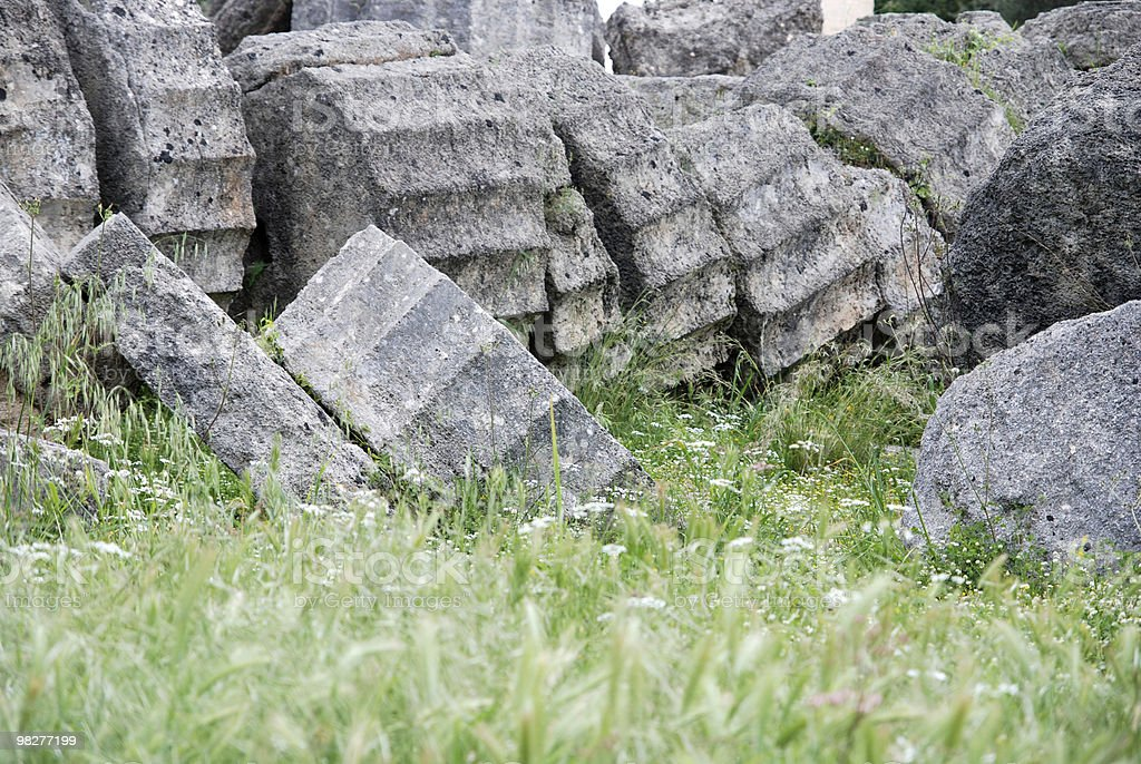 broken column from Zeus Temple at Ancient Olympia royalty-free stock photo