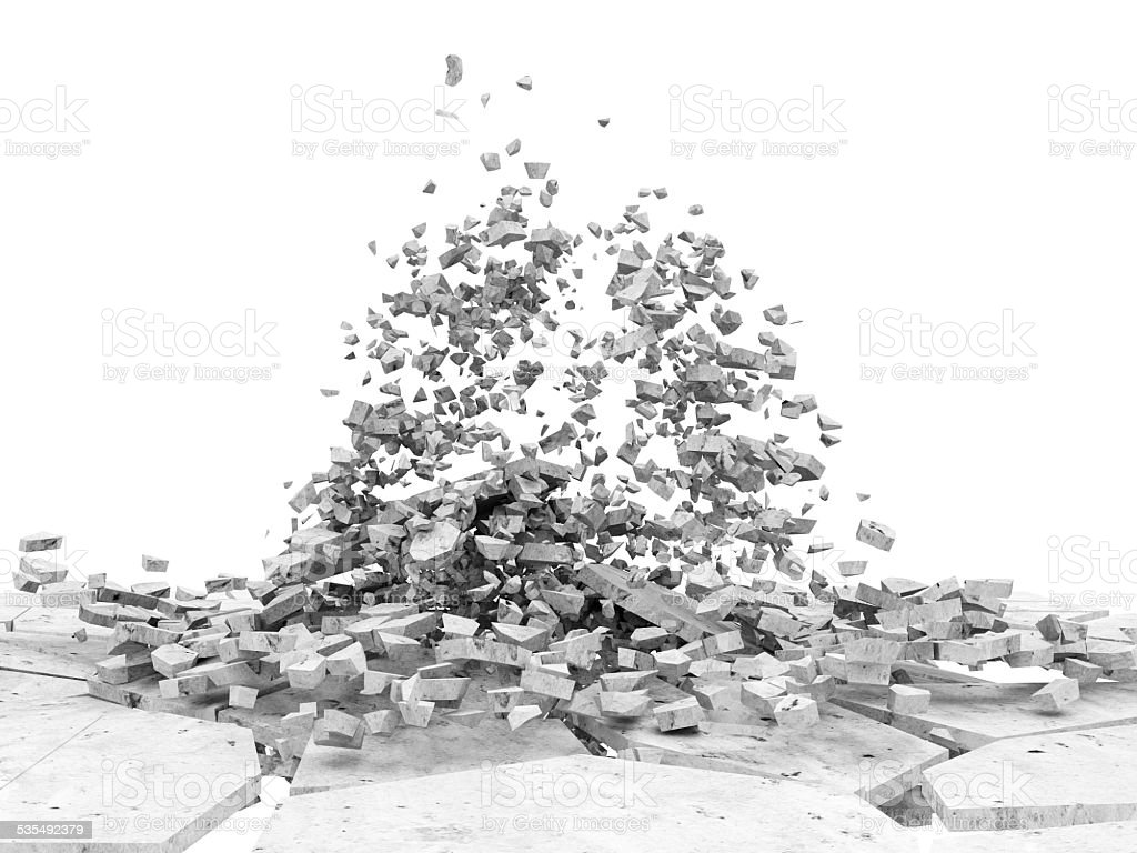 Broken Concrete Floor isolated on white background stock photo