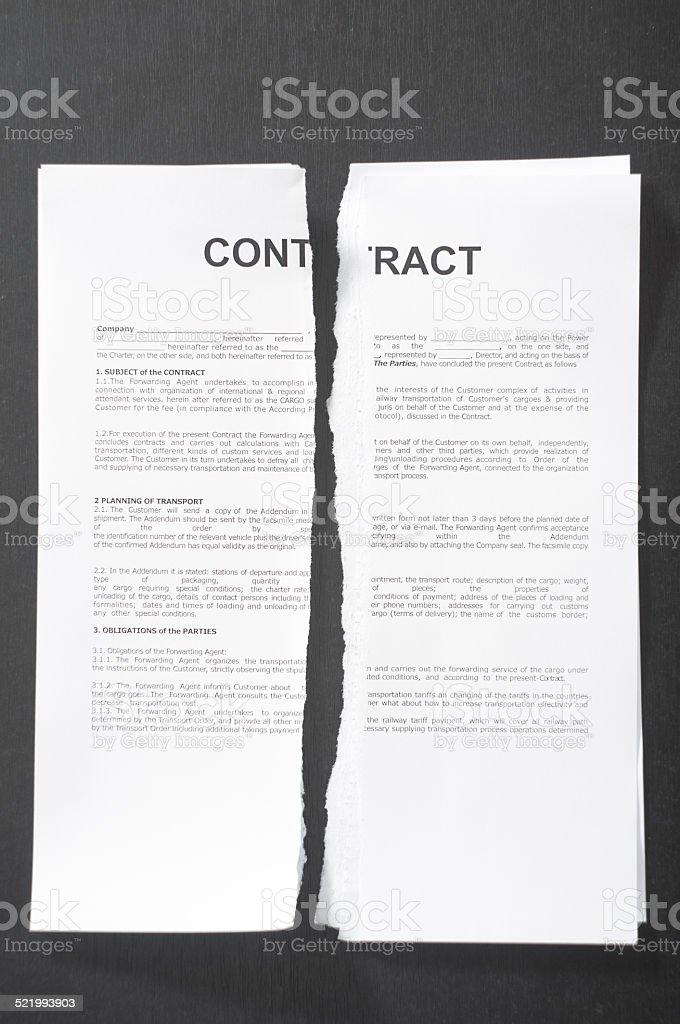 Broken Contract stock photo