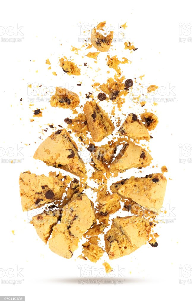 broken cookie isolated on white background stock photo