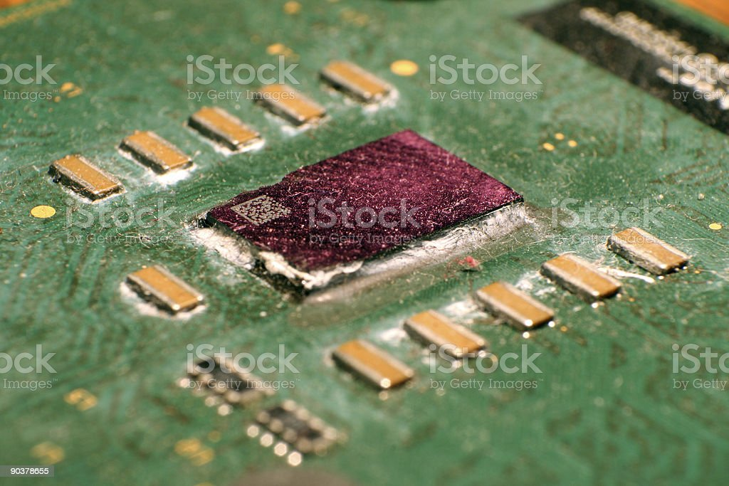 broken cpu core stock photo