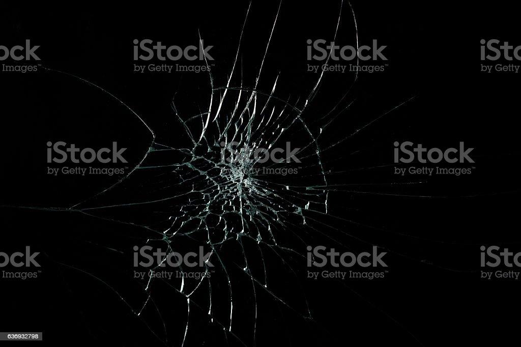 Broken Cracked Glass on a black stock photo