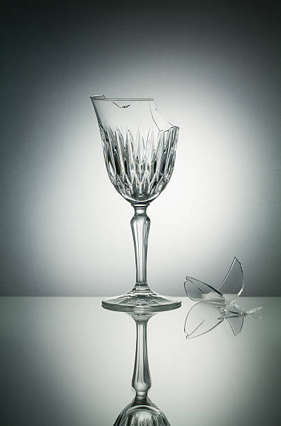 Broken crystal  glass stock photo