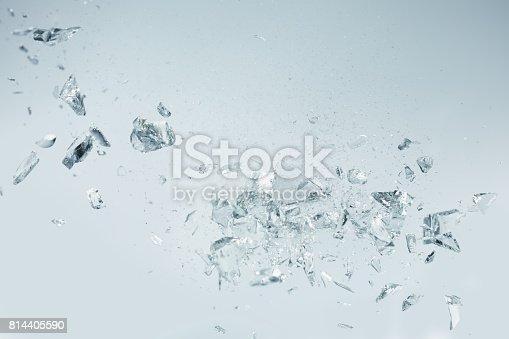 Broken crystals falling, studio shot