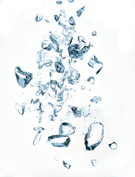 broken crystals on white background - ice crystal stock pictures, royalty-free photos & images