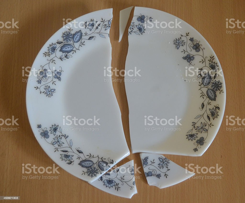 Broken Decorated Plate stock photo