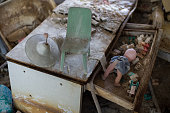 A broken doll in an abandoned kindergarten in Pripyat, Chernobyl exclusion zone. abandoned city, ghost town., Chornobyl Nuclear Accident