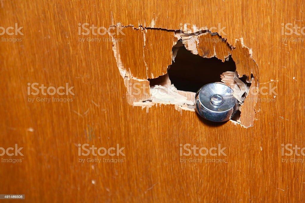 Broken doorknob after burglary stock photo