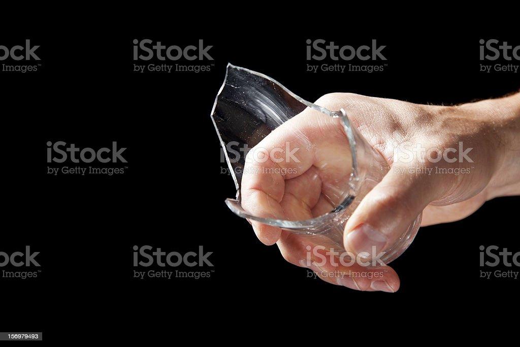 Broken Getränk Glas In Der Hand Stockfoto Und Mehr Bilder Von