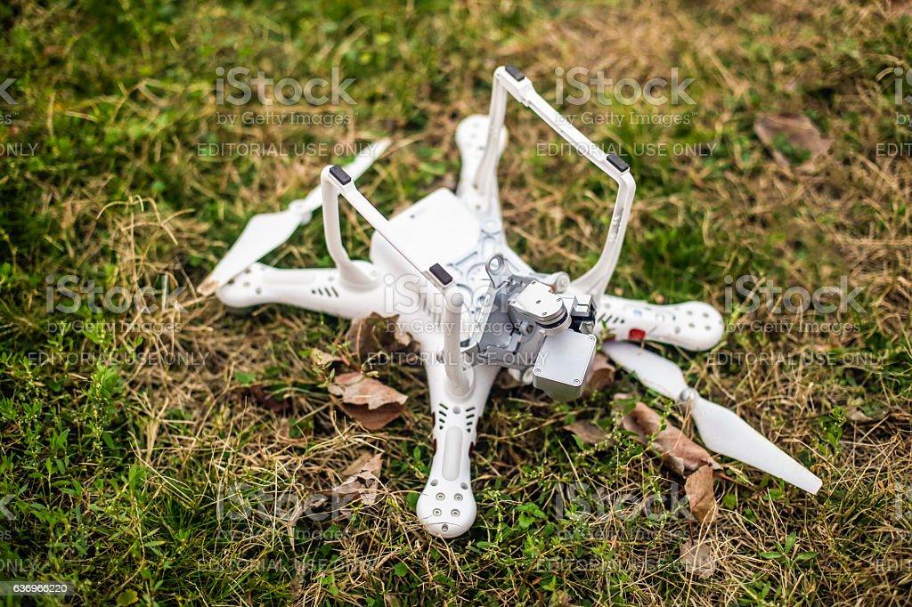 Broken drone stock photo