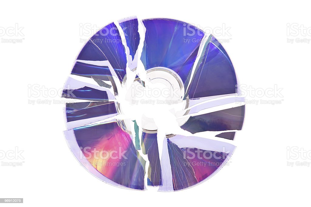 Broken DVD / CD isolated on white background royalty-free stock photo