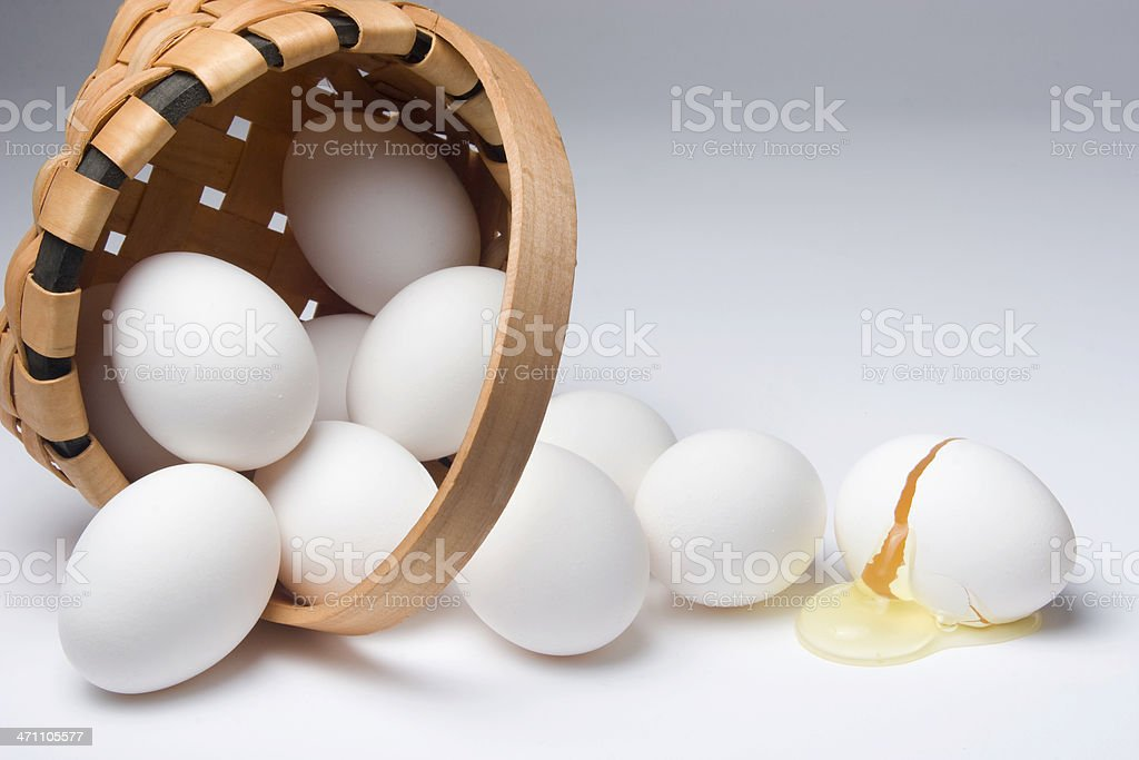 Broken egg from a spilled basket stock photo