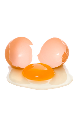 Broken egg, close-up.