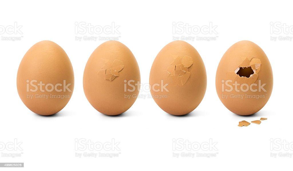 Broken egg step stock photo