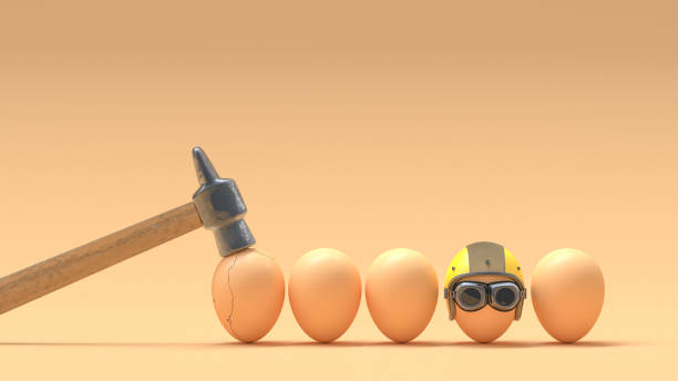 Broken eggs because they do not wear helmets. Broken eggs because they do not wear helmets. 3D Render fragility stock pictures, royalty-free photos & images