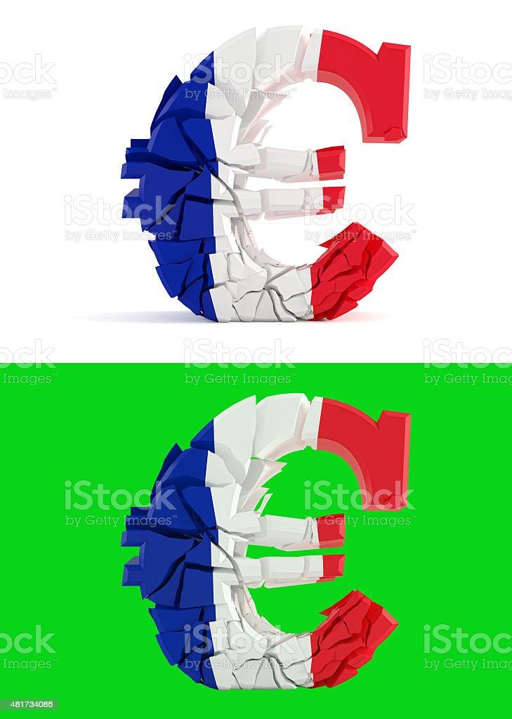 broken euro sign - france flag stock photo