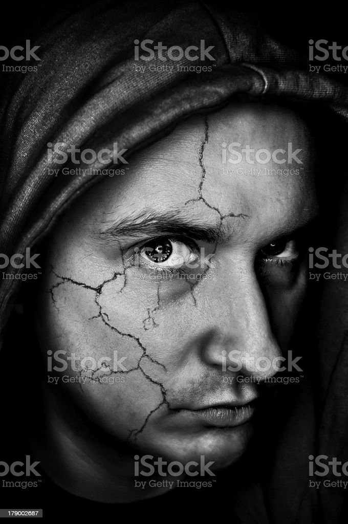 Broken face royalty-free stock photo