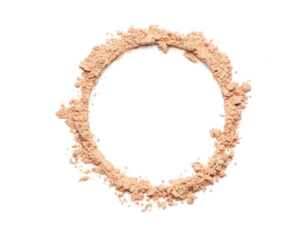 Broken face powder Make up crushed powder in the form of a circle on white background face powder stock pictures, royalty-free photos & images
