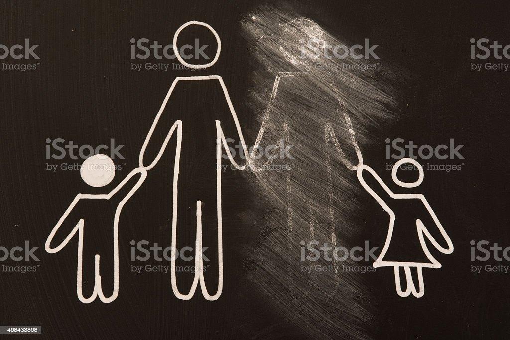 Broken Family On A Blackboard Stock Photo - Download Image ...