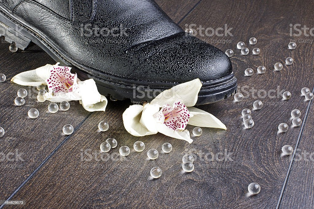 Broken feelings concept with two orchids stock photo
